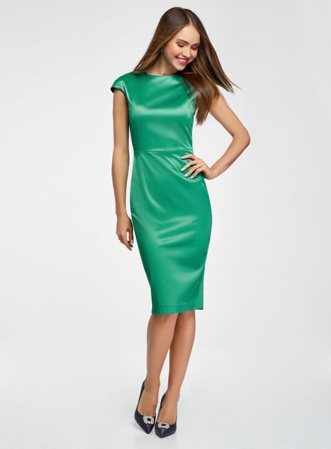 Платье-футляр с вырезом-лодочкой oodji #SECTION_NAME# (зеленый), 11902163-1/32700/6E00N