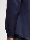 Рубашка льняная без воротника oodji для мужчины (синий), 3B320002M/21155N/7800N - вид 5