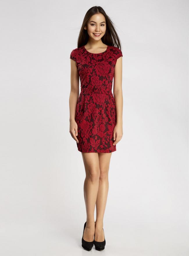 Платье облегающего силуэта из фактурной ткани oodji #SECTION_NAME# (красный), 14001139-3/43631/2945F