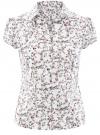 Блузка принтованная из легкой ткани oodji #SECTION_NAME# (слоновая кость), 21407022-7M/12836/1262F