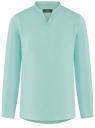 Рубашка льняная без воротника oodji #SECTION_NAME# (бирюзовый), 3B320002M/21155N/7303N