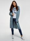Кардиган с капюшоном и накладными карманами oodji для женщины (синий), 63205252/48953/7000N - вид 2