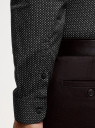 Рубашка базовая приталенная oodji для мужчины (черный), 3B110019M/44425N/2923G