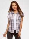 Рубашка клетчатая с коротким рукавом oodji #SECTION_NAME# (розовый), 11402084-4/35293/1041C - вид 2