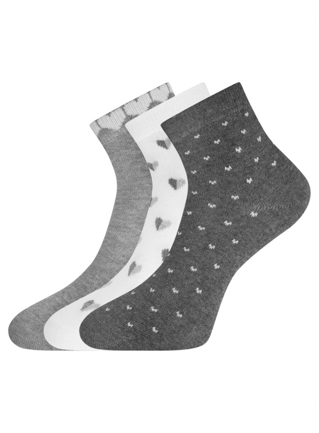 Комплект из трех пар укороченных носков oodji #SECTION_NAME# (разноцветный), 57102418T3/47469/65