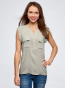 Блузка с короткими рукавами и нагрудными карманами oodji #SECTION_NAME# (зеленый), 21412132-2B/24681/6010G - вид 2