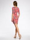 Платье трикотажное облегающее oodji #SECTION_NAME# (красный), 14001121-3B/16300/4366F - вид 3