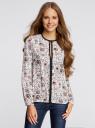 Блузка из струящейся ткани с контрастной отделкой oodji #SECTION_NAME# (белый), 11411059/43414/1245E - вид 2