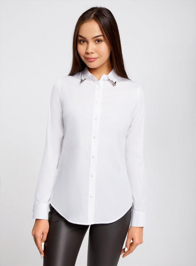 Рубашка хлопковая с украшением на воротнике oodji для женщины (белый), 11411113/26357/1000N