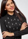 Блузка из струящейся ткани с украшением из страз oodji #SECTION_NAME# (черный), 11411128/36215/2900N - вид 4