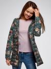 Куртка удлиненная с капюшоном oodji #SECTION_NAME# (зеленый), 10204058-1B/46708/6954F - вид 2