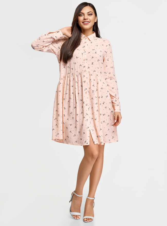 Платье вискозное свободного силуэта oodji для женщины (бежевый), 11911036/42540/3339O