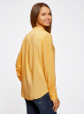 Блузка базовая из вискозы oodji #SECTION_NAME# (желтый), 21412129-1/24681/5200N - вид 3