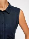 Топ вискозный с нагрудным карманом oodji для женщины (синий), 11411108B/45470/7900N