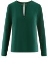 Блузка с вырезом-капелькой и металлическим декором oodji #SECTION_NAME# (зеленый), 21400396/38580/6900N