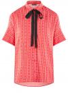 Блузка вискозная с завязками на воротнике oodji #SECTION_NAME# (розовый), 11405143/48458/4312O