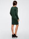 Платье трикотажное с декоративными молниями на плечах oodji #SECTION_NAME# (зеленый), 24007026/37809/6900N - вид 3