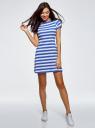 Платье A-образного силуэта с круглым вырезом oodji #SECTION_NAME# (синий), 14001201/48002/7510S - вид 2