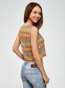 Топ из фактурной ткани с этническим узором oodji для женщины (разноцветный), 15F05004/45509/556DE