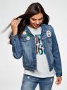 Куртка джинсовая со значками oodji #SECTION_NAME# (синий), 11109031/46654/7500W - вид 2
