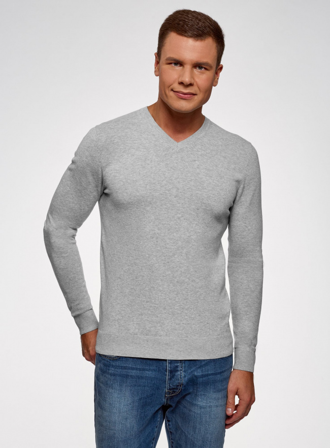 Пуловер базовый с V-образным вырезом oodji #SECTION_NAME# (серый), 4B212007M-1/34390N/2302M
