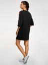 Платье прямого силуэта с надписью на груди oodji #SECTION_NAME# (черный), 14008030-1/46173/2945P - вид 3