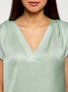 Блузка с коротким рукавом и V-образным вырезом oodji для женщины (зеленый), 11411100/45348/6500N - вид 4