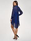 Платье шифоновое с асимметричным низом oodji для женщины (синий), 11913032/38375/7829A - вид 3