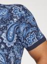 Поло принтованное с контрастной отделкой oodji для мужчины (синий), 5L412303M/47706N/7975E