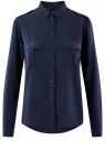 Блузка базовая из вискозы с нагрудными карманами oodji #SECTION_NAME# (синий), 11411127B/26346/7900N