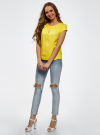 Блузка вискозная на молнии oodji #SECTION_NAME# (желтый), 11403203-1/35610/5100N - вид 6