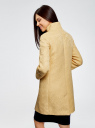 Пальто прямого силуэта из фактурной ткани oodji #SECTION_NAME# (желтый), 10104043/43312/5200N - вид 3