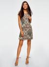Платье трикотажное с воланами oodji #SECTION_NAME# (зеленый), 14011017/46384/6233E - вид 2