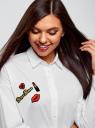 Рубашка свободного силуэта с декором oodji #SECTION_NAME# (белый), 13K11012/36217/1000N - вид 4