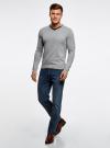 Пуловер с V-образным вырезом и декоративными пуговицами oodji #SECTION_NAME# (серый), 4L212152M-1/47210N/2379B - вид 6