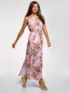 Платье макси с завязками на талии oodji #SECTION_NAME# (розовый), 24005137-1/46943/4019F - вид 6