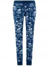 Брюки трикотажные на завязках oodji для женщины (синий), 16701042/46919/7930G