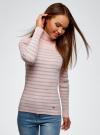 Свитер приталенного силуэта в полоску oodji #SECTION_NAME# (розовый), 74412573/46531/4020S - вид 2