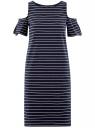 Платье прямого силуэта с открытыми плечами oodji для женщины (синий), 14001225/47420/7910S