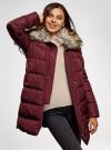 Куртка удлиненная с искусственным мехом на воротнике oodji для женщины (красный), 10203059-1/32754/4905N - вид 2