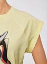 Футболка хлопковая с принтом oodji для женщины (желтый), 14707001-30/46154/5019P