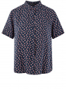 Блузка вискозная с короткими рукавами oodji для женщины (синий), 11411137-2B/26346/7945E