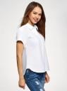 Рубашка прямого силуэта с коротким рукавом oodji #SECTION_NAME# (белый), 13L11021/49224/1000N - вид 2