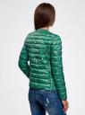 Куртка стеганая с круглым вырезом oodji #SECTION_NAME# (зеленый), 10204040-1B/42257/6D41F - вид 3