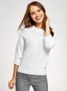 Джемпер свободного силуэта фактурной вязки oodji для женщины (белый), 63803080/18369/1000N