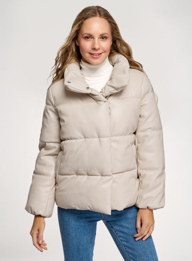 Куртка объемная из искусственной кожи oodji для женщины (бежевый), 18A03012/50427/3300N