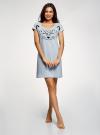 Платье с аппликацией и V-образным вырезом oodji #SECTION_NAME# (синий), 59801018-2/44135N/7029P - вид 2