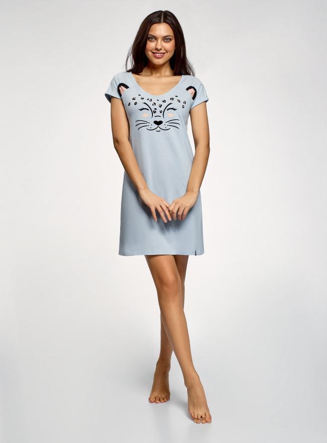 Платье с аппликацией и V-образным вырезом oodji #SECTION_NAME# (синий), 59801018-2/44135N/7029P