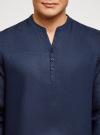 Рубашка льняная без воротника oodji для мужчины (синий), 3B320002M/21155N/7800N - вид 4