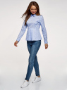 Блузка хлопковая с баской oodji #SECTION_NAME# (синий), 13K00001B/26357/7079Q - вид 6